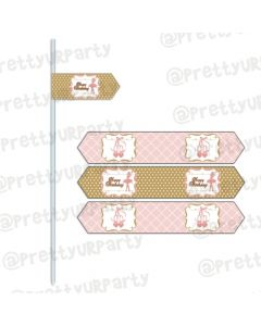 Pink and Gold Ballet Drink Straws