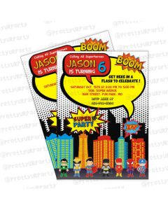 superhero  invitation, superhero  theme, superhero  theme invitation cards