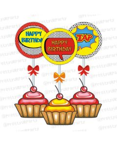 superhero cupcake cupcake/food toppers