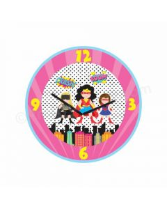 Personalized Supergirl Theme Clock - Round