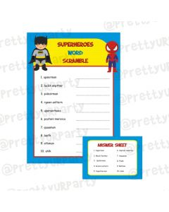 Superhero Word Scramble Game