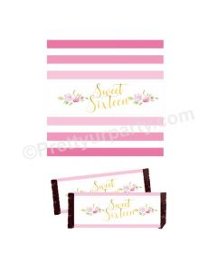 Sweet Sixteen Theme Chocolate Wrappers