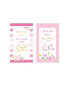 Sweet Sixteen Theme Thank You Cards
