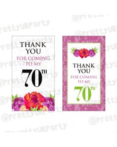 70th Birthday Theme Thankyou Cards
