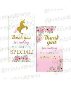 Unicorn Theme Thankyou Cards