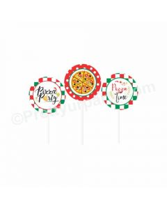 Pizza Party Theme Cupcake / Food Toppers