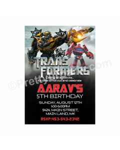 Transformers Theme Invitations