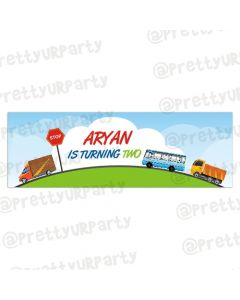 Personalized Transport Birthday Banner 36in