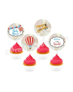 Travel Baby Shower Cupcake / Food Toppers