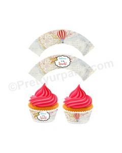 Travel Baby Shower Cupcake Wrappers