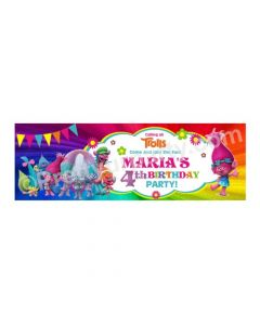 Personalized Trolls Theme Banner 36in