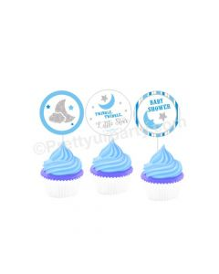 Twinkle Boy Baby Shower Cupcake / Food Toppers