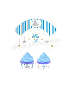 Twinkle Boy Baby Shower Cupcake Wrappers