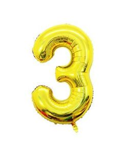 "Foil 3 Number Balloon 18"" - Gold"