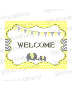 Elephant Baby shower Entrance Banner / Door Sign