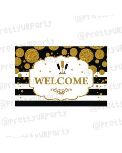 Gold and Black New Year Entrance Banner / Door Sign