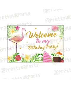 Flamingo Theme Entrance Banner / Door Sign