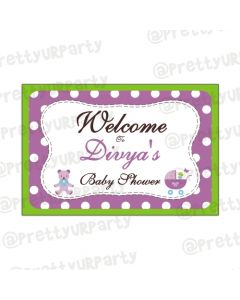 purple and green entrance banner / door sign