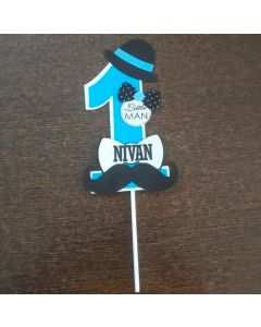 Personalized Little Man Cake Topper