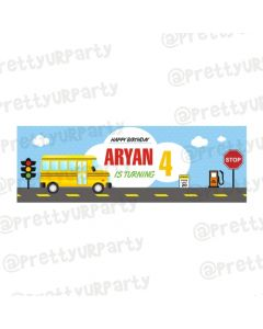 Personalized Wheels on The Bus Theme Banner 30in