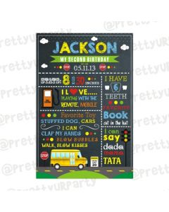 Wheels on the Bus Chalkboard Poster