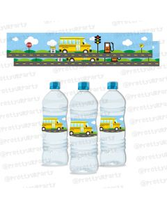 wheels on the bus water bottle labels