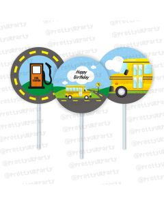wheels on the bus theme cupcake / food toppers