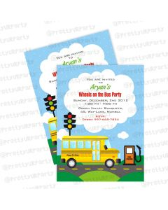wheels on the bus customised invitations
