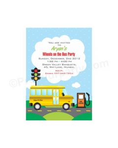 Wheels On The Bus E-Invitations