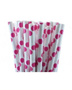 White and Hot Pink big polka dots paper straw