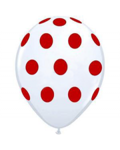 Polka Dots Latex Balloons - White