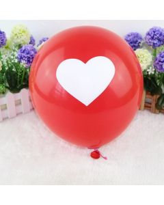 Valentines Red with White Heart Latex Balloon