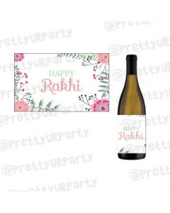 Personalised Pink Floral Rakhi Champagne / Wine Label