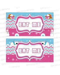 winter wonderland theme food labels / buffet table cards