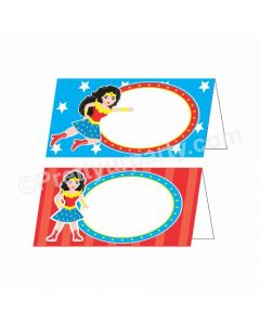 Wonder Woman Theme Food Labels / Buffet Table Cards