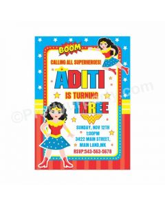 Wonder Woman Theme Invitations