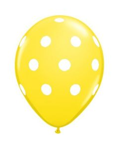 Polka Dots Latex Balloons - Yellow (Pack of 10)