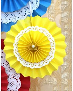 Yellow Rosette Paper Fans with Doily