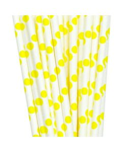 White and Yellow Polka Dots Paper Straw