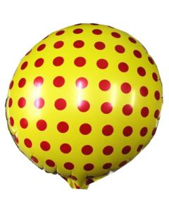 Yellow polka dot foil balloon