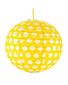 Yellow Polka Dot Round Paper lamps - 12""